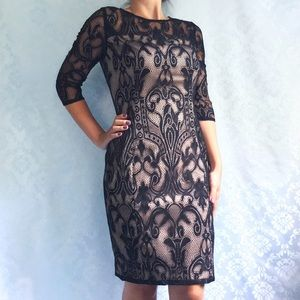 NWT Adrianna Papell Black Nude Lace Dress